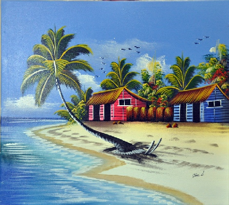Beach Scene Canvas Stretching