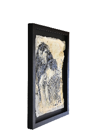 Framed Massimiliano Longo mixed media painting on hand made paper