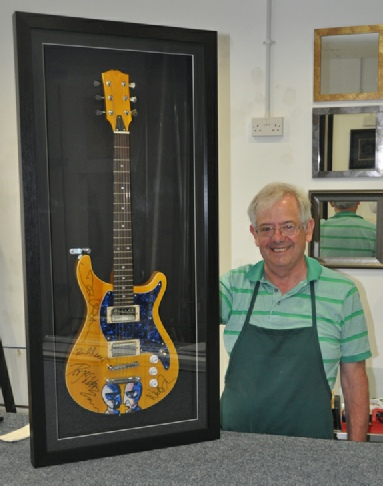 Framed Pink Floyd Signed & Painted Guitar