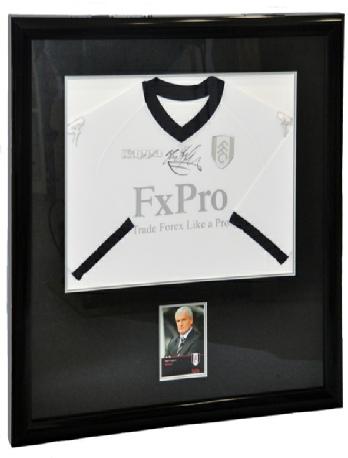 Framed Fulham Football Shirt signed by Mark Hughes