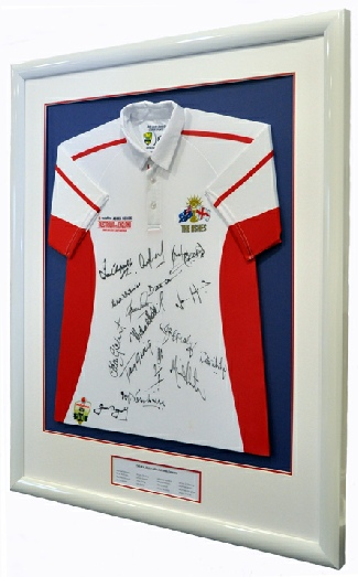 "Framed England ""Ashes"" Cricket Shirt signed by the Commentators"