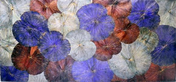 Lotus Leaves on Canvas