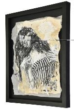 Framed Massimiliano Longo mixed media painting on hand made paper