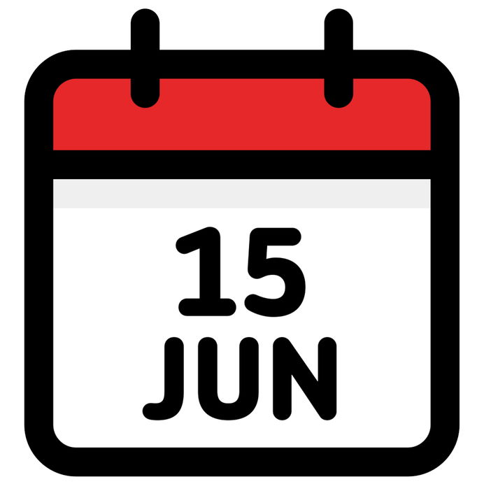 15. June – Calendar Icon – Vector Illustration